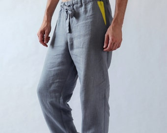 Natural mens linen pants. Linen pants. Mens trousers. Pants for men. Gift for him. Summer linen pants. Mens beach pants. Workout pants