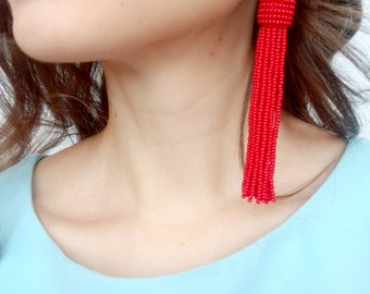 Red tassel earrings boho earrings fringe earrings bridesmaid earrings bead tassel earrings bohemian earrings red statement earrings