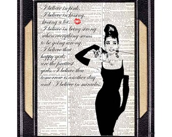 AUDREY HEPBURN art print Breakfast at Tiffany's I Believe In Pink on vintage dictionary book page black white quote movie cinema actor 8x10