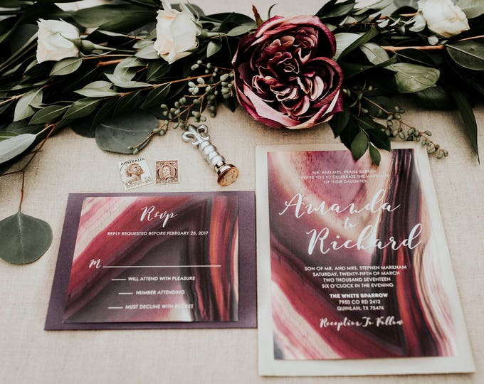 Shades of Purple Burgundy Plum Geode Stone Natural Wedding Invitation with Lined Envelope and RSVP