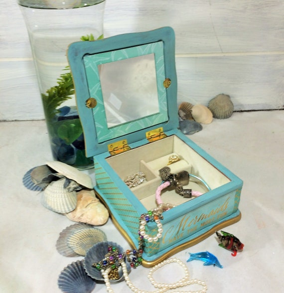 Mermaid Jewelry Box with Blue Gems Turquoise Jewelry