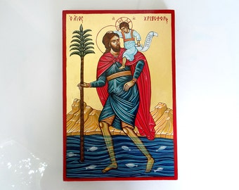 Saint Christopher, Handpainted Icon Original on wood, 12 x 8 inches