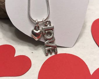 Love Necklace, with Heart Charm,Necklace, Gift for Her, Gift of Love