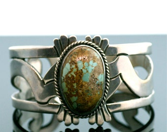 Vintage Cuff - Beautiful Vintage Sterling Silver and Turquoise Cuff Bracelet
