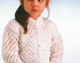 Zig Zag Lace Cardigan for Girl/ Instant PDF Digital Download Vintage Knitting Pattern - 959