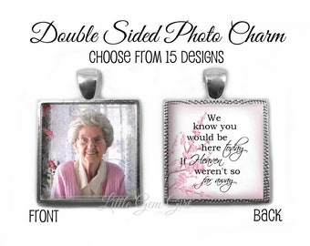 Custom Wedding Bouquet Photo Charm - Personalized Picture Memorial Wedding Charm with Heaven Poem In Memory - Square Pendant 23 Designs