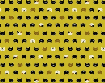 Coneco Metallic - Cat Faces Mustard Yellow from Quilt Gate