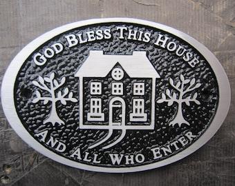 Cast Aluminum God Bless This House Plaque