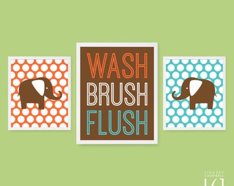 Wash Brush Flush - Elephants with Polka Dots - Bathroom Signs