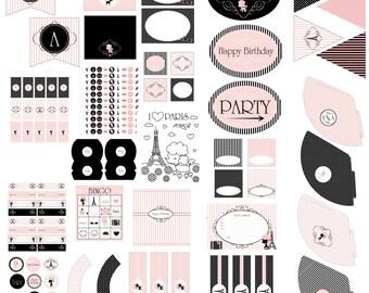 Paris Birthday Party Decorations - Instant Download - Paris Party - Paris Party Decorations - Girl Birthday Party - Paris Poodle Birthday