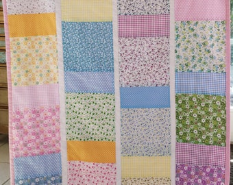 Toddler girl or Baby Shabby Chic Quilt     Features Flowers, checks and polka dots with Pink Backing