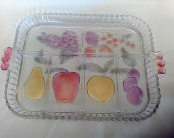 Relish tray, vintage Indiana Glass, 5 part divided serving tray, gruit platter, serving dish