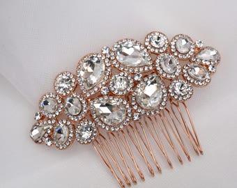 Rose Gold  Hair Comb , Vintage Style Crystal Hair Comb, Wedding Hair Comb ,Art Deco headpiece, Bridal Headpiece, Bridal Hair Comb