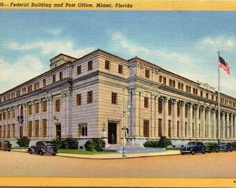 Miami, Florida, Federal Building, Post Office - Vintage Postcard - Linen Postcard (Z)