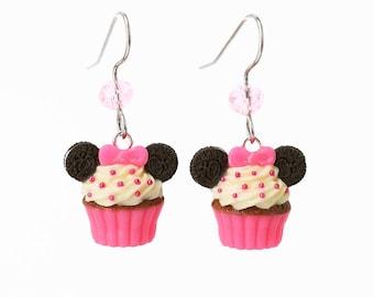 Handmade Oreo Minnie Mouse Neon Pink Cupcake Earrings, Cupcake Earrings, Mickey Mouse Earrings