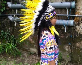 Headband Yellow Feather Hat Warbonnet American Style Indian Headdress Cool Headband Warbonnet Costume Native American Boho Headpiece