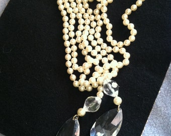 New Price! Vintage 92 Inch White Glass Pearl Necklace