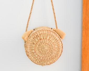 crossbody bag • cream lining • Straw bag • Thai Weaving seagrass • handmade straw bag with knitting strap • boho bag in round shape