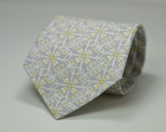 Light Gray Necktie, Gray and Yellow Floral Necktie, Men's Necktie, Grey and Yellow Wedding, Skinny Necktie
