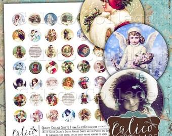 Victorian Holiday, Christmas Printable, Collage Sheet, Printable Ephemera, 1 inch Circles, Bottlecap Images, Digital Rounds, Printable Paper
