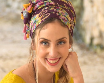 Amazing Soft Sangria Purple Headscarf TICHEL, Hair Snood, Head Scarf, Head Covering, Jewish headcovering, Scarf, Bandana, Apron