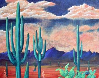 Desert Storms  Original Acrylic 30x30in on Canvas #PPITCHERART