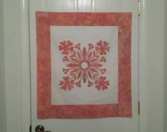 Quilt Top, Pre Designed Wall Hanging Top, Hawaiian Appliqué Wall Hanging, Hula Flowers Wall Hanging, Arrives Ready to Quilt.
