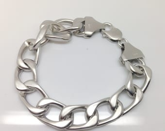 Curve Chain Link Bracelet Sterling Silver 925 Rhodium Plated