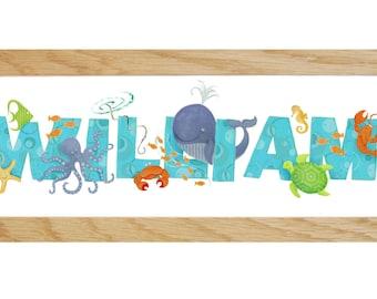 Sea Life Door Plaque - Children's / Kids / name sign / Illustration