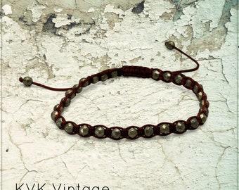 Boho Adjustable Faceted Pyrite Bracelet -  Leather Bracelet - Gemstone Bracelet - Bohemian Bracelet - Bead Bracelet - Boho Bracelet