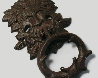 cast iron Green Man door knocker, French country,cottage chic,celtic, Pagan