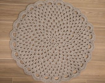 Grey Cotton Bath Mat, Doily Rug, Kitchen Rug, Farmhouse bathmat