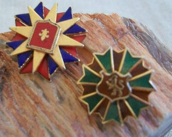 Heraldic brooch, lion brooch, brooch lot, French inspired, fleur de lis, red blue and gold, brown and green, enameled, Maltese cross, pins