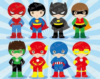 Superhero clipart, Superheroes, Little Boys Superhero clipart. Cute Superheroes, SUPER BOYS / Instant Download (S020)