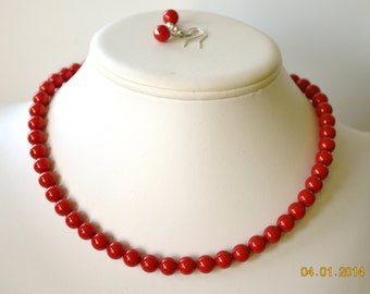 Single Strand Coral Red Swarovski Pearl Beaded Necklace and Earring Set    Great Brides or Bridesmaid Gifts