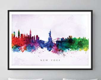 New York Skyline, NYC Cityscape, Art Print, Wall Art, Watercolor, Watercolour Art Decor [SWNYC02]