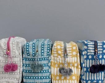 Block Printed Wash Bag || Mini Dot Dash Print || Cosmetic case