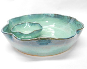 Pottery Chip and Dip, Ceramic Chip and Salsa, Pottery Chip and Salsa, Ceramic Chip and Dip, Attached Bowls in Speckled Turquoise and Blue