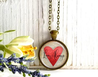 Round Medium Glass Bubble Pendant Necklace- Love Always On Red Heart Book Page