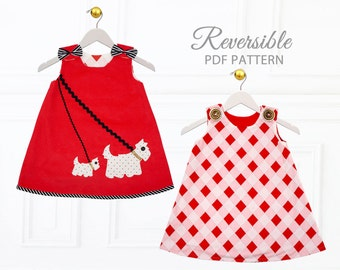 Baby Dress Pattern pdf pattern, Baby Sewing Pattern, Childrens Sewing Pattern, Baby Girls Dress Pattern, Toddler Dress Pattern, SCOTTIE