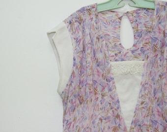 SALE / Vintage Floral print blouse, Short sleeve blouse, summer shirt