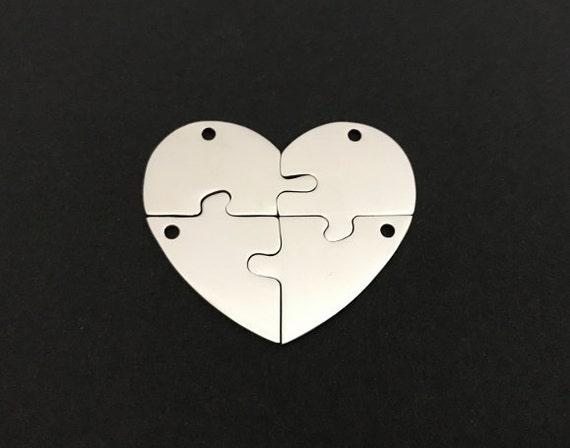 4 Piece Stainless Steel Broken Heart Blanks 40mm X 33mm Heart