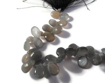 "Gray Moonstone Briolette Pears 4"" Half Strand, Gray Moonstone Briolettes, 20+ Gemstones, 4 Inch Strand of 12mm Heart Beads (B-MO1b)"