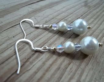 Bridal, Prom, Special Occasion Earrings With White Glass Pearl Bead