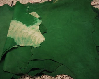 Wholesale Lambskin 11 Suede Leather Hides Italian Top Quality Green.