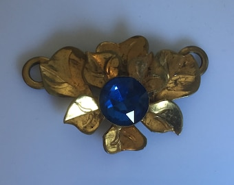 Large Antique c.1910s to 1920s gilt metal leaf and blue glass sash or dress decoration trim