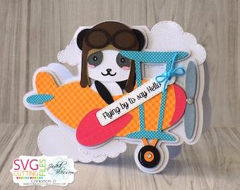 Panda Airplane Shaped Card, Panda, Aviator, Hello