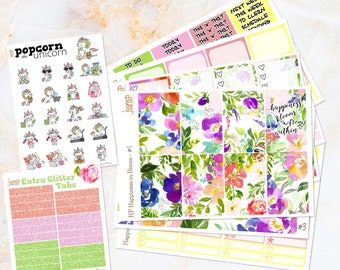 Happiness in Bloom floral spring summer set / kit stickers - for classic/medium HAPPY PLANNER - Mother's Day watercolor Popcorn the Unicorn