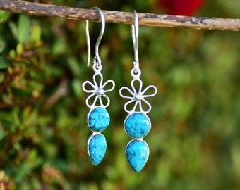 SALE Turquoise Earring Blue Stone Earring Genuine Turquoise Jewelry Natural Gemstone Turquoise Dangle Drop Silver Turquoise Earring Gift