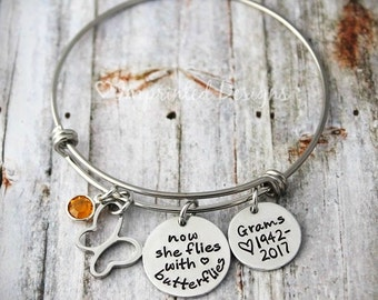 Silver Bangle - Charm Bracelet - Memorial Bracelet - In Memory Of Mom - Grandma - Sister-Now She flies with the Butterflies - Sympathy Gift